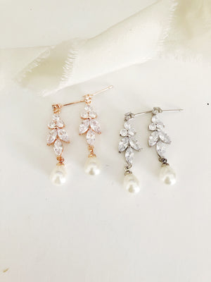 Pearl Ellen Diamond Leaf Drop Wedding Earrings