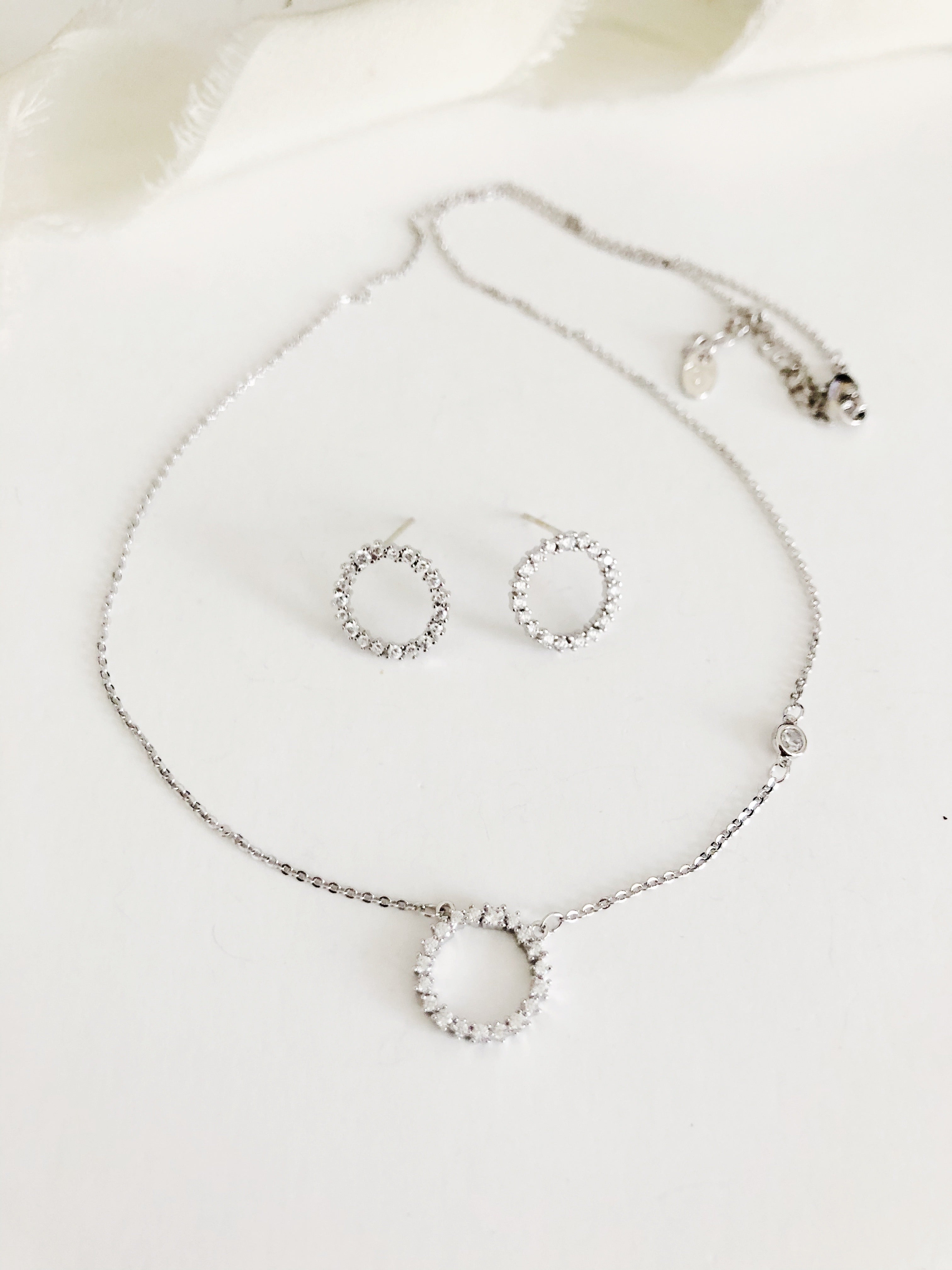 Mona Simple Silver Diamond Earrings and Necklace Set