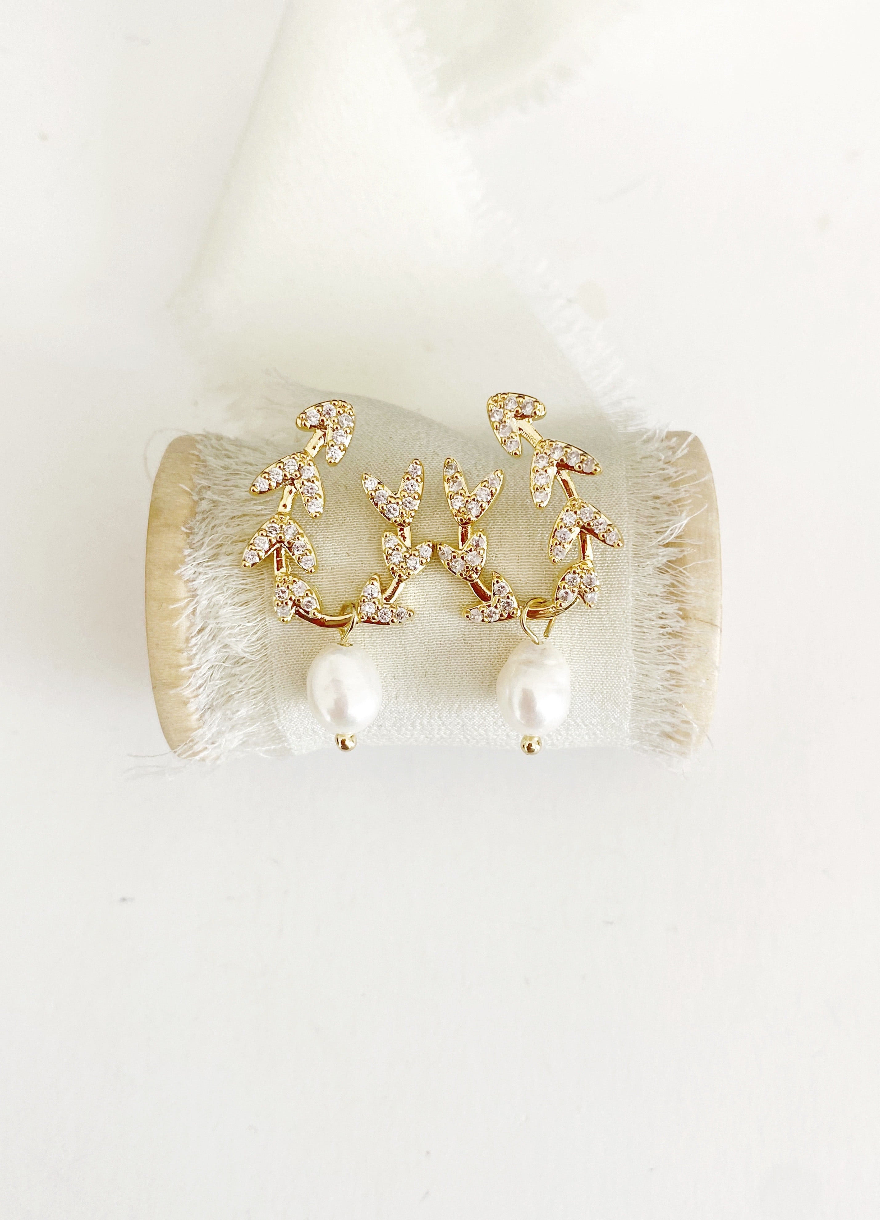 Kaela gold diamond and pearl earrings