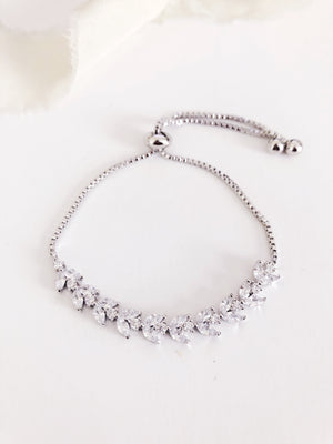 Nina Diamond CZ Adjustable Leaf Bracelet