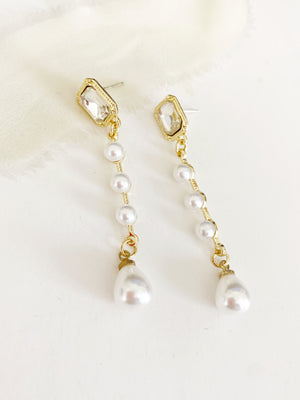 Selma Gold Pearl Drop Wedding Earrings