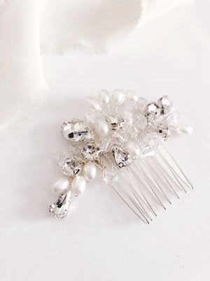 Helena Petite Crystal Diamond and Pearl Bridal Hair comb