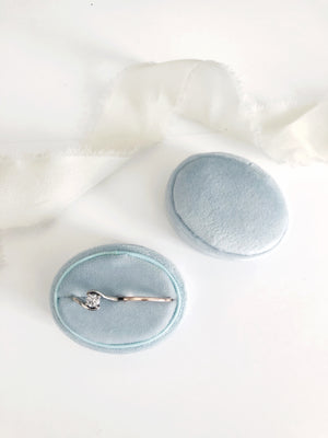 Ice Blue Velvet Horizontal Oval Ring Box