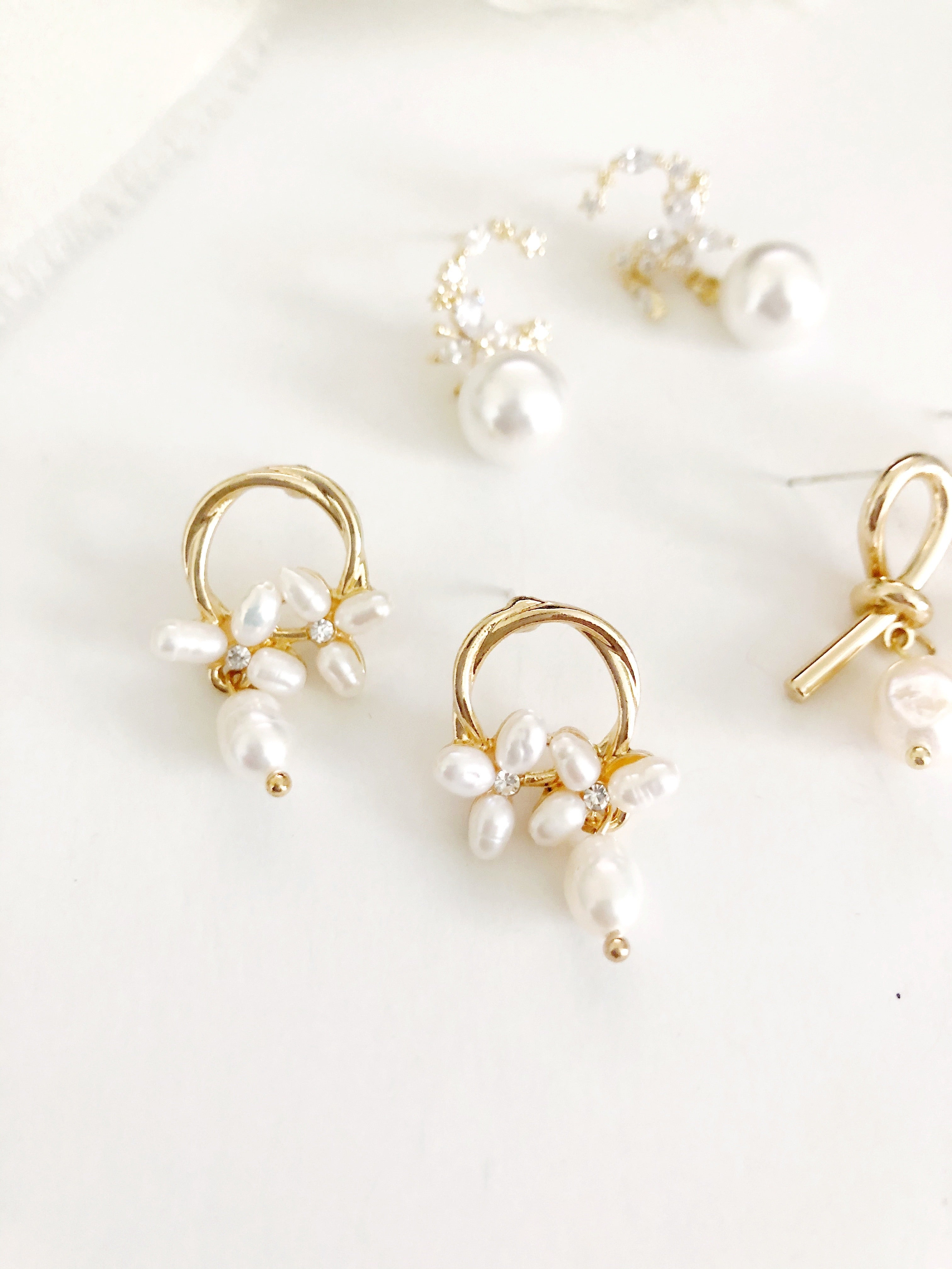 Madelyn gold and freshwater pearl hoop earrings