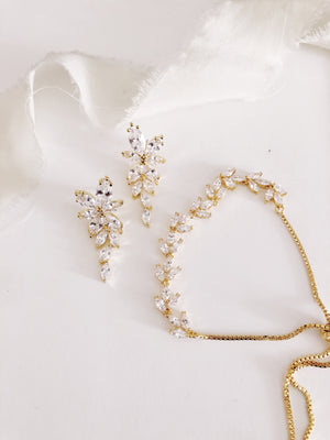 Janelle Gold Diamond Earrings and Bracelet Set