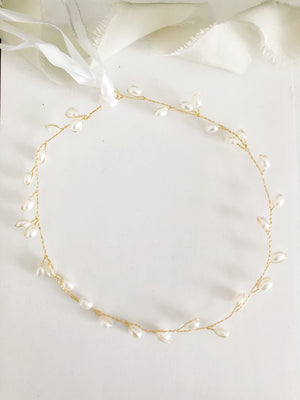 Simple Gold Pearl Bridal Headband
