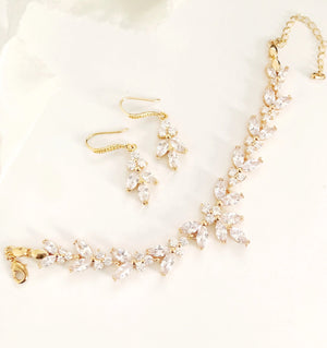 Ellen Gold Diamond Earrings and Bracelet Set