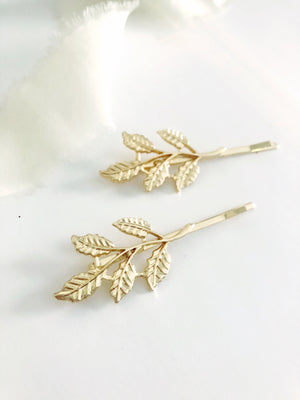 Gold Leaf Hair Pin Set