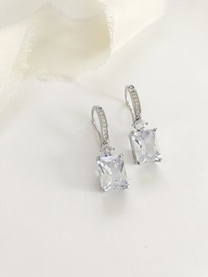 Helena Emerald Cut Diamond Wedding Earrings