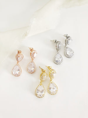 Candace Diamond Drop Wedding Earrings