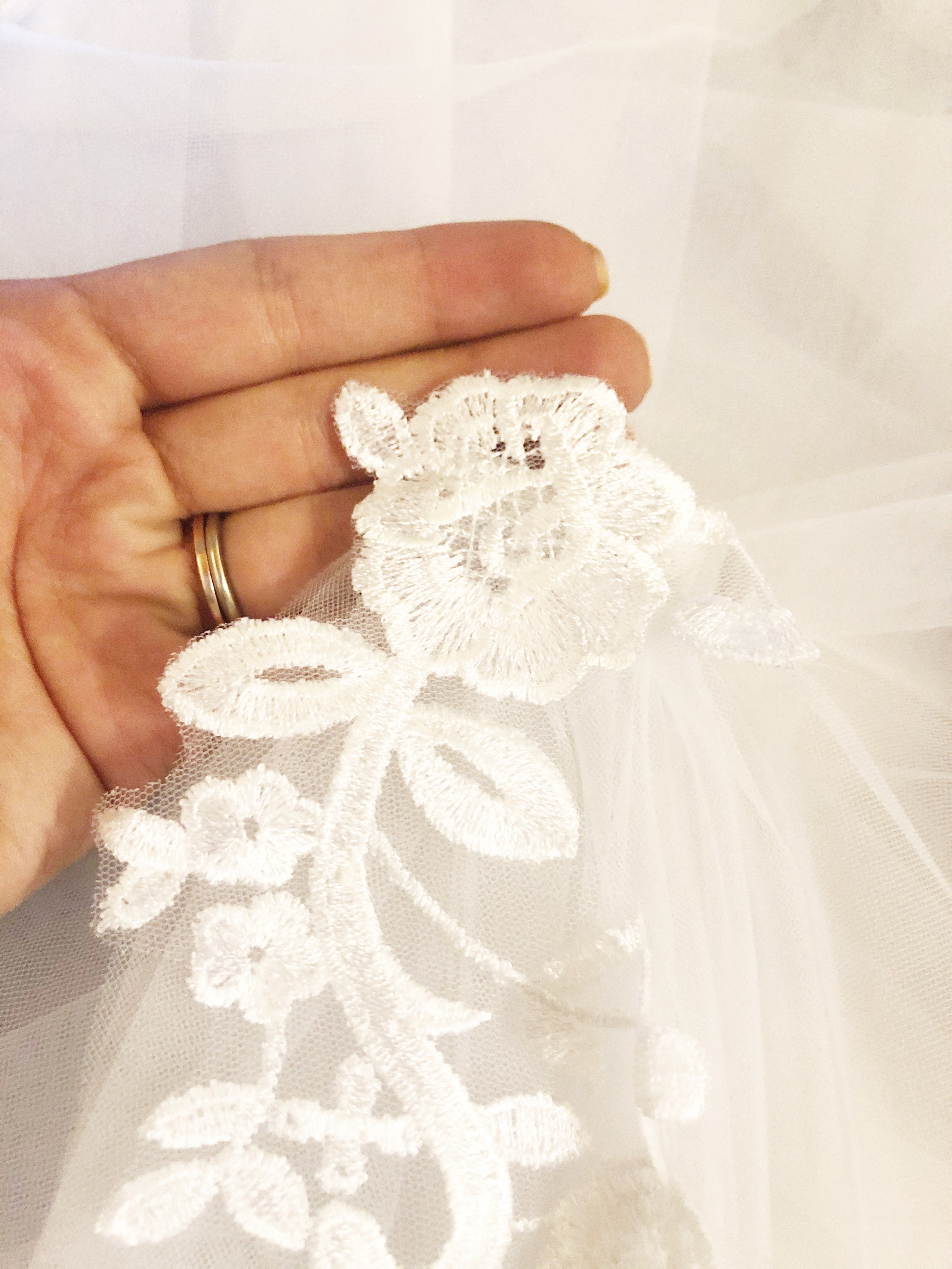 Mariah Lace Tulle Catehdral Bridal Cape Veil