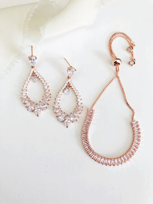 Genessa Rose Gold Diamond Earrings and Bracelet Set
