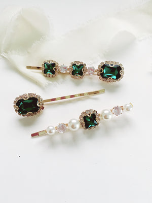 3 piece Emerald Rhinestone hair pins