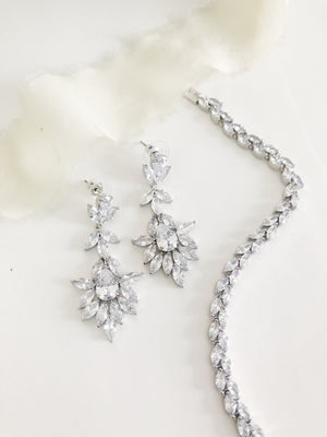 Harriett Silver Diamond Earrings and Bracelet Set
