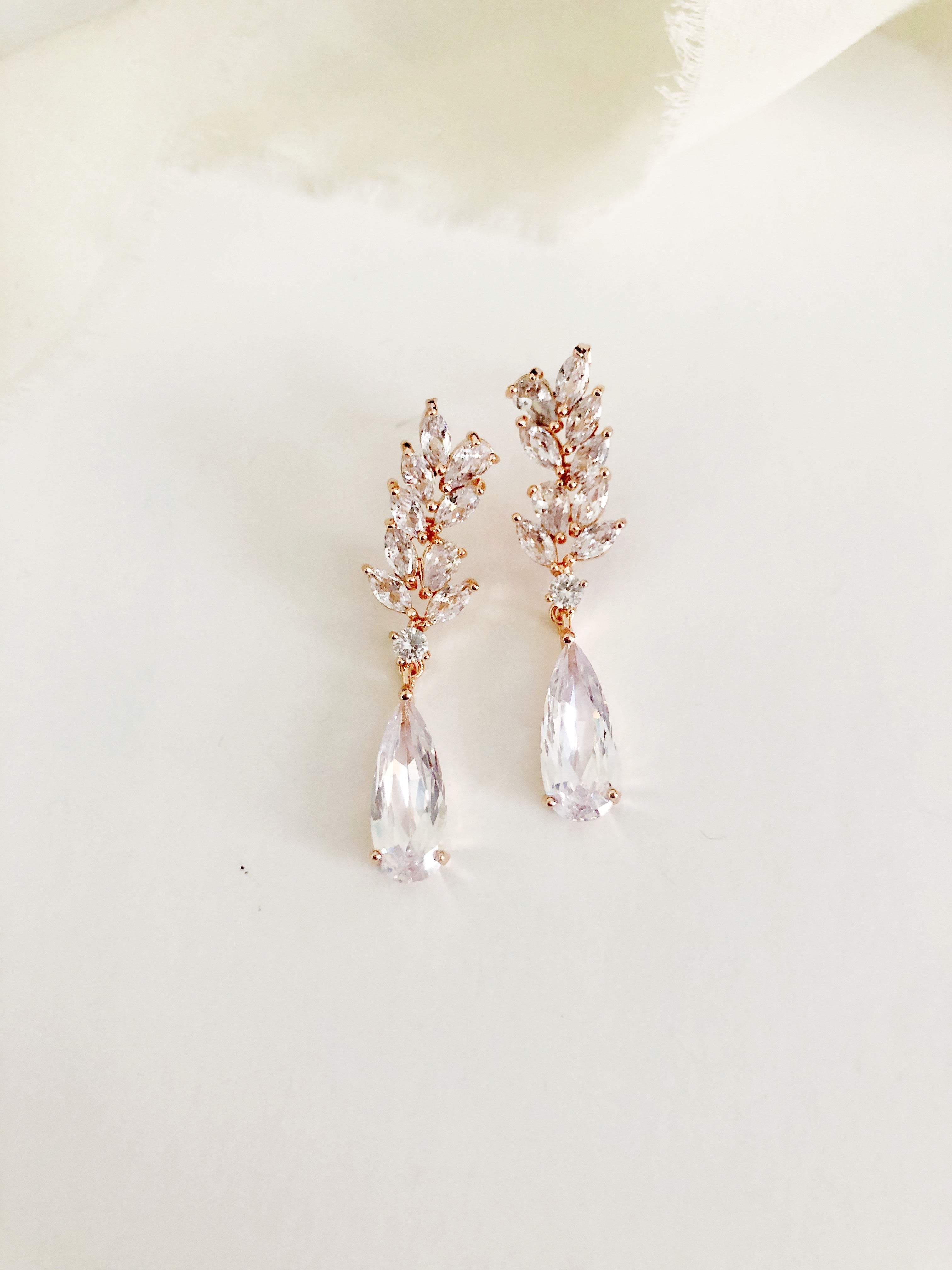 Jasmine Rose Gold Diamond Drop Earrings