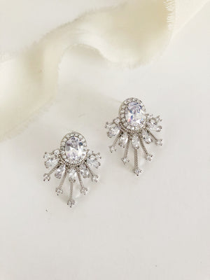 Celia Diamond Stud Vintage Retro Wedding Earrings