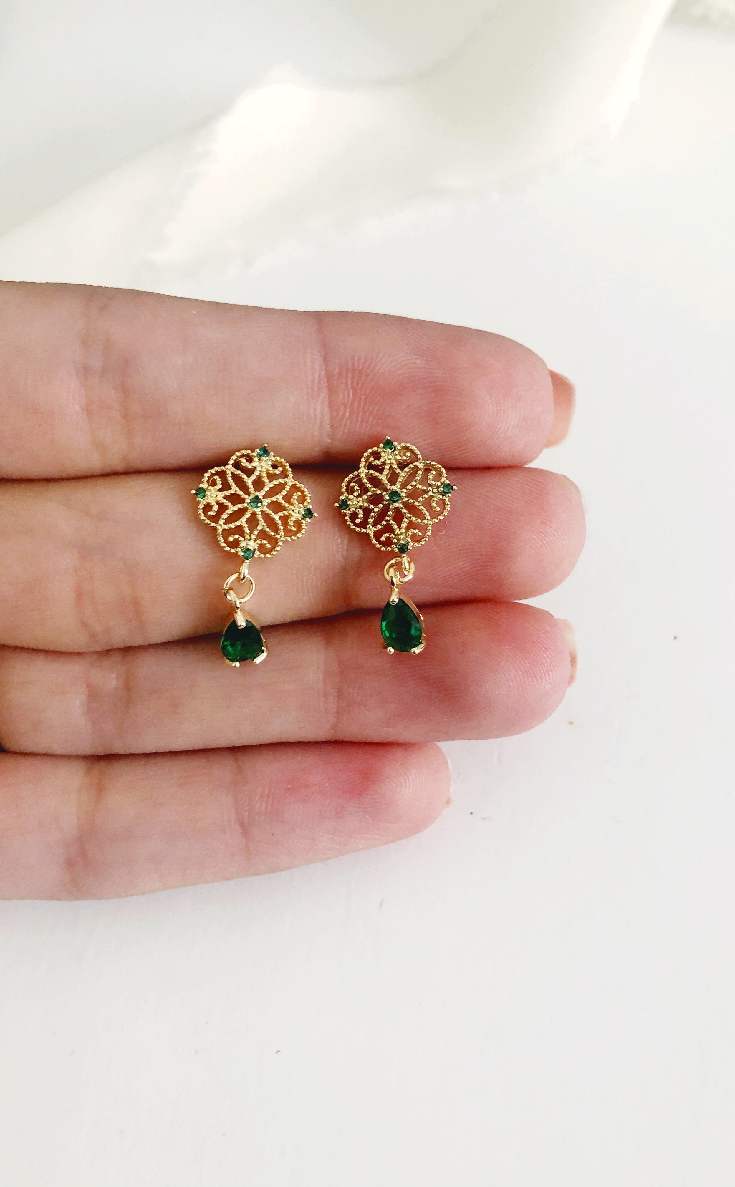 Maraj Emerald Green Diamond Drop Wedding Earrings