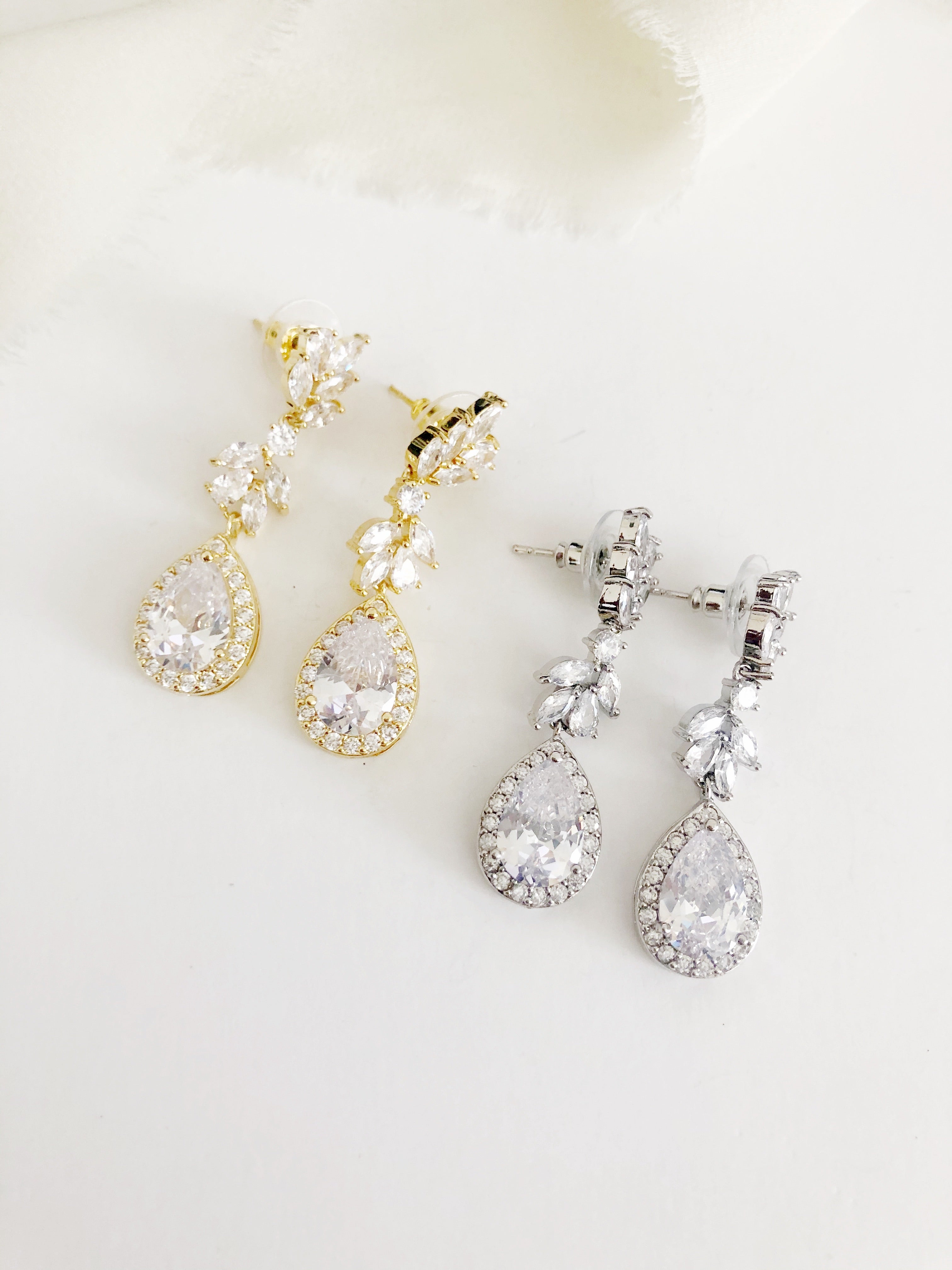 Linelle Drop Diamond Wedding Earrings