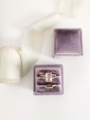 Mauve Light Purple Velvet Square Ring Box