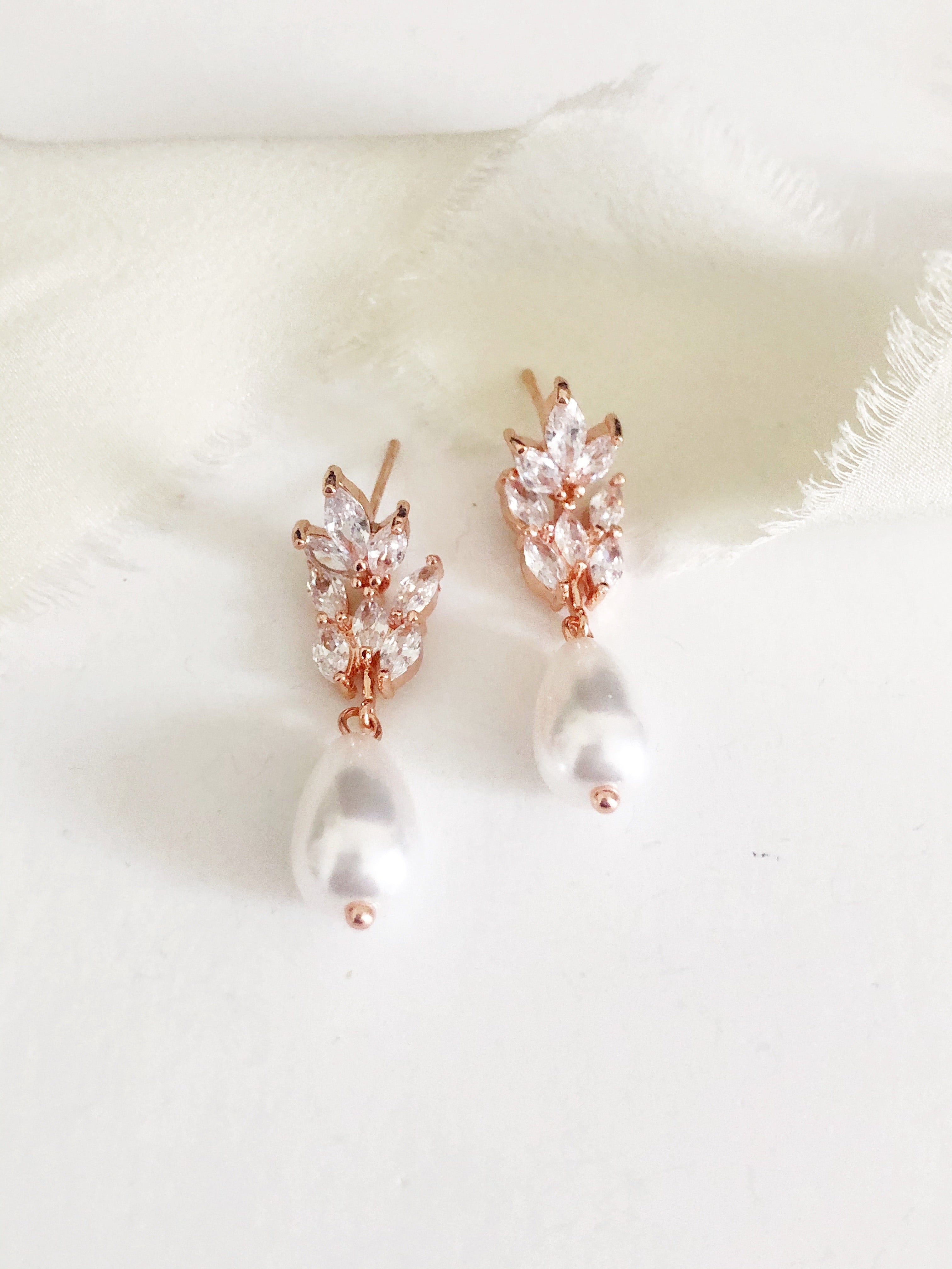 Gianna Rose Gold pearl drop earrings