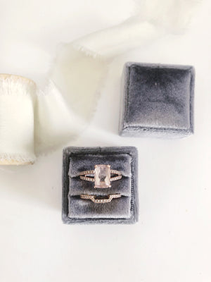 Charcoal Grey Velvet Sqaure Ring Box