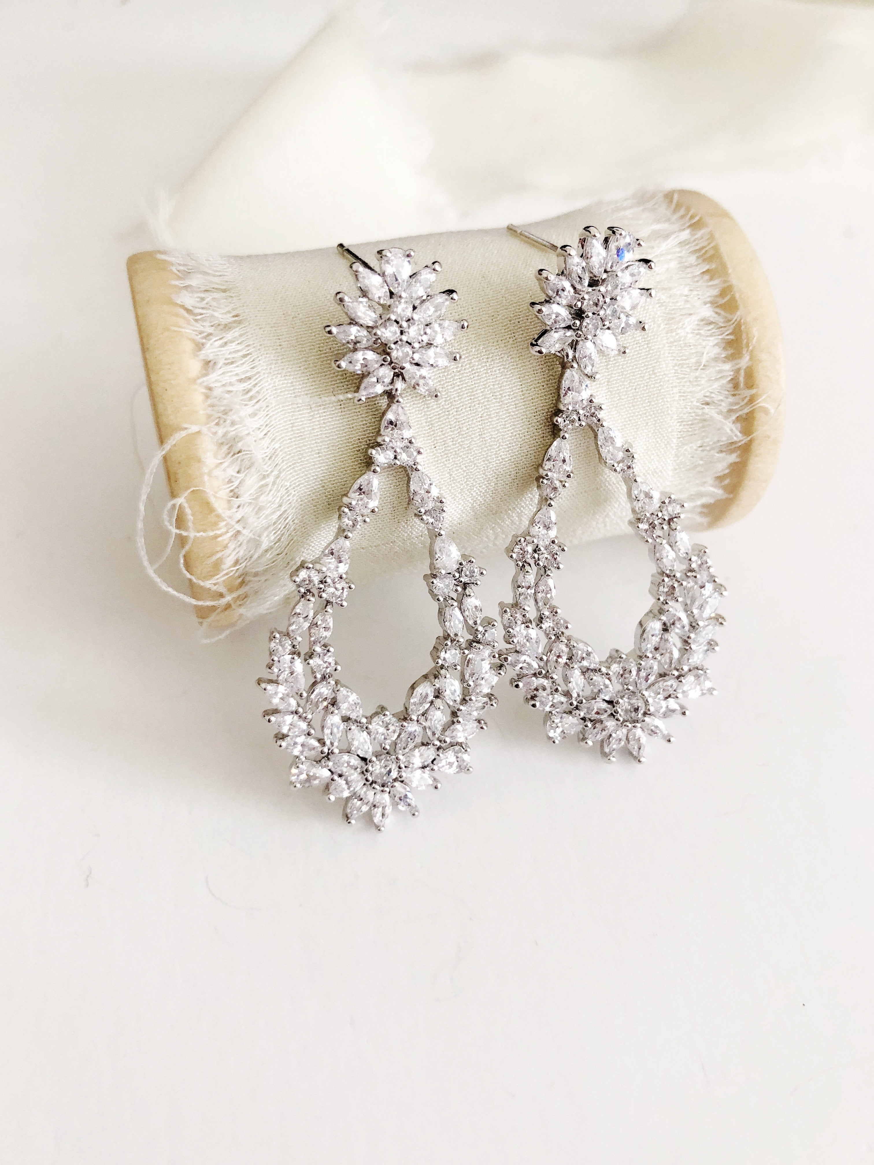 Sienna Silver Drop Statement Earrings