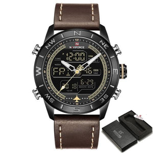 2018 New Men Watches NAVIFORCE Top Luxury Brand Men's Fashion Sport Watch Male Leather Quartz Analog LED Clock Relogio Masculio Bahria Stores by Bahria Stores in Watches