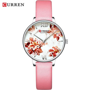 CURREN Charming Flower Design Watches Women Fashion Casual Leather Wristwatch Ladies Watch Female Clock Women's Quartz Watch Bahria Stores by Bahria Stores in [product_type]