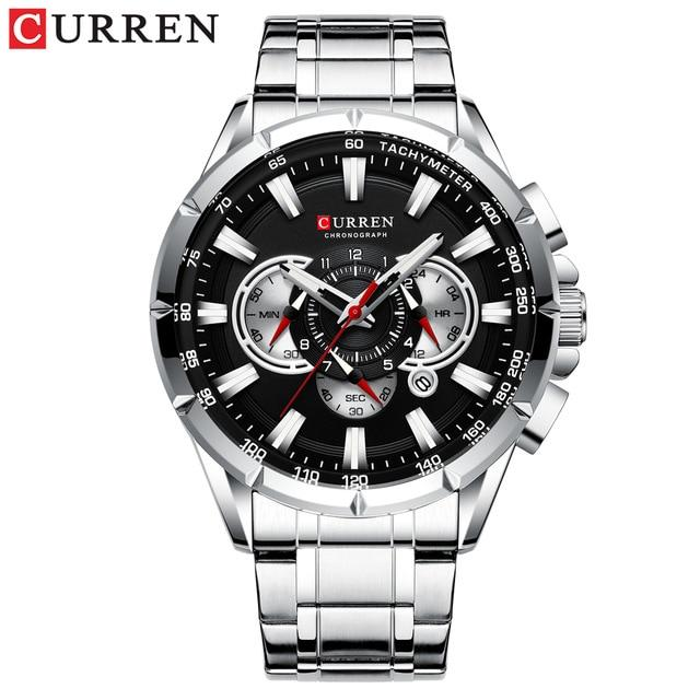 CURREN Men's Watch Fashion Sport Chronograph Wristwatch Mens Watches Top Brand Luxury Quartz Watch Stainless Steel Band Bahria Stores by Bahria Stores in [product_type]