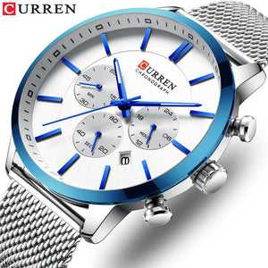 CURREN Watch Men Fashion Business Watches Men's Casual Waterproof Quartz Wristwatch Blue Steel Clock Relogio Masculino Bahria Stores by Bahria Stores in [product_type]