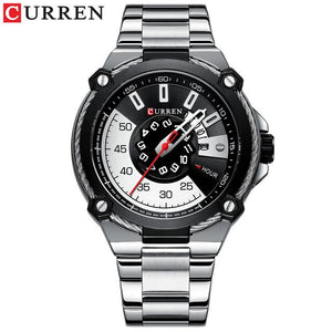 CURREN Watch Silver and Black Watches Men's Quartz Wristwatch Stainless Steel Band Fashion Clock Male Watch Man Style Reloj Bahria Stores by Bahria Stores in [product_type]
