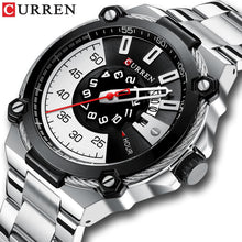 Load image into Gallery viewer, CURREN Watch Silver and Black Watches Men's Quartz Wristwatch Stainless Steel Band Fashion Clock Male Watch Man Style Reloj Bahria Stores by Bahria Stores in [product_type]