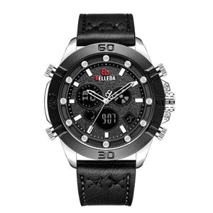 Fashion Luxury BELLEDA Brand Mens Sports Analog Black  Leather Band Quartz WristWatches Rose Gold Watch Men Watches Casual Bahria Stores by Bahria Stores in [product_type]