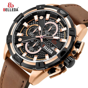 Fashion Luxury BELLEDA Brand Mens Sports Analog Black  Leather Band Quartz WristWatches Rose Gold Watch Men Watches Casual