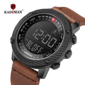 KADEMAN 2019 Luxury Sport Mens Watches Steps Counter LED Digital Watch 3ATM Fashion Designer Casual Leather Wristwatches Relogio Bahria Stores by Bahria Stores in [product_type]