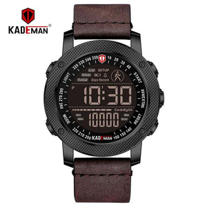 KADEMAN Luxury Sports Digital Men Watch Army Military Step Count Waterproof Leather Hand Clock Top Brand Male Wristwatch Relogio Bahria Stores by Bahria Stores in [product_type]