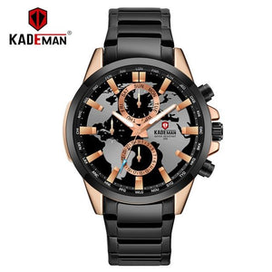 KADEMAN Luxury World Map Men Watch 2019 Top Brand Waterproof Full Steel Business Casual Wristwatches Automatic Relogio Masculino Bahria Stores by Bahria Stores in [product_type]