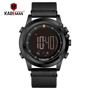 KADEMAN Men Watch Digital Display Waterproof Step Counter Leather Clock Top Luxury Brand LED Male Wristwatches Relogio Masculino Bahria Stores by Bahria Stores in [product_type]