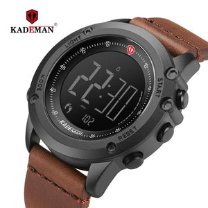 KADEMAN Military Sports Men's Watch Digital Display Waterproof Step Counter Leather Clock Top Luxury Brand LED Male Wristwatches Bahria Stores by Bahria Stores in [product_type]