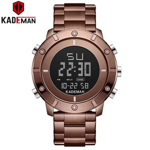 KADEMAN New Arrival Digital Sport Watch Men Luxury Full Steel 3ATM Brand Watch TOP Quality Military Wristwatch Relogio Masculino Bahria Stores by Bahria Stores in [product_type]