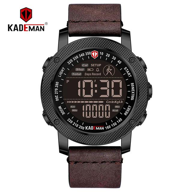 KADEMAN TOP Brand Men Watch Creative Step Counter Digital Sport Wristwatches Waterproof Military Army Fashion Male Leather Clock Bahria Stores by Bahria Stores in [product_type]