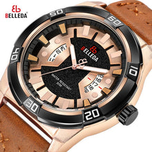 Load image into Gallery viewer, Leather Fashion Luxury BELLEDA Brand Rose Gold Mens Sports Analog Dual Display Black  Quartz WristWatches Watch Men Watches