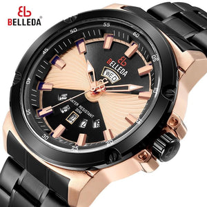 Luxury BELLEDA Rose Gold  Fashion Brand Mens Sports Analog Dual Display  Steel Quartz WristWatches Watch Men Casual Watches Bahria Stores by Bahria Stores in [product_type]