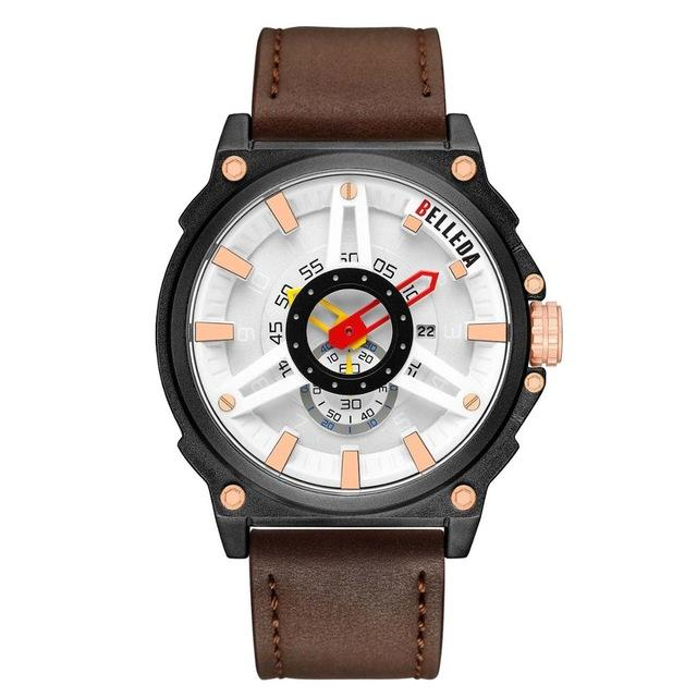 Luxury Brand BELLEDA Mens Military Sports Male Analog Date Rose Gold Quartz Watch Men Watches Casual Leather WristWatches Bahria Stores by Bahria Stores in [product_type]