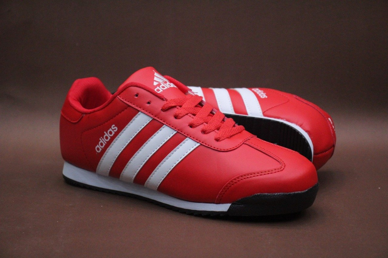 Adidas 3-Stripes White on Red Casual Sneakers for Unisex