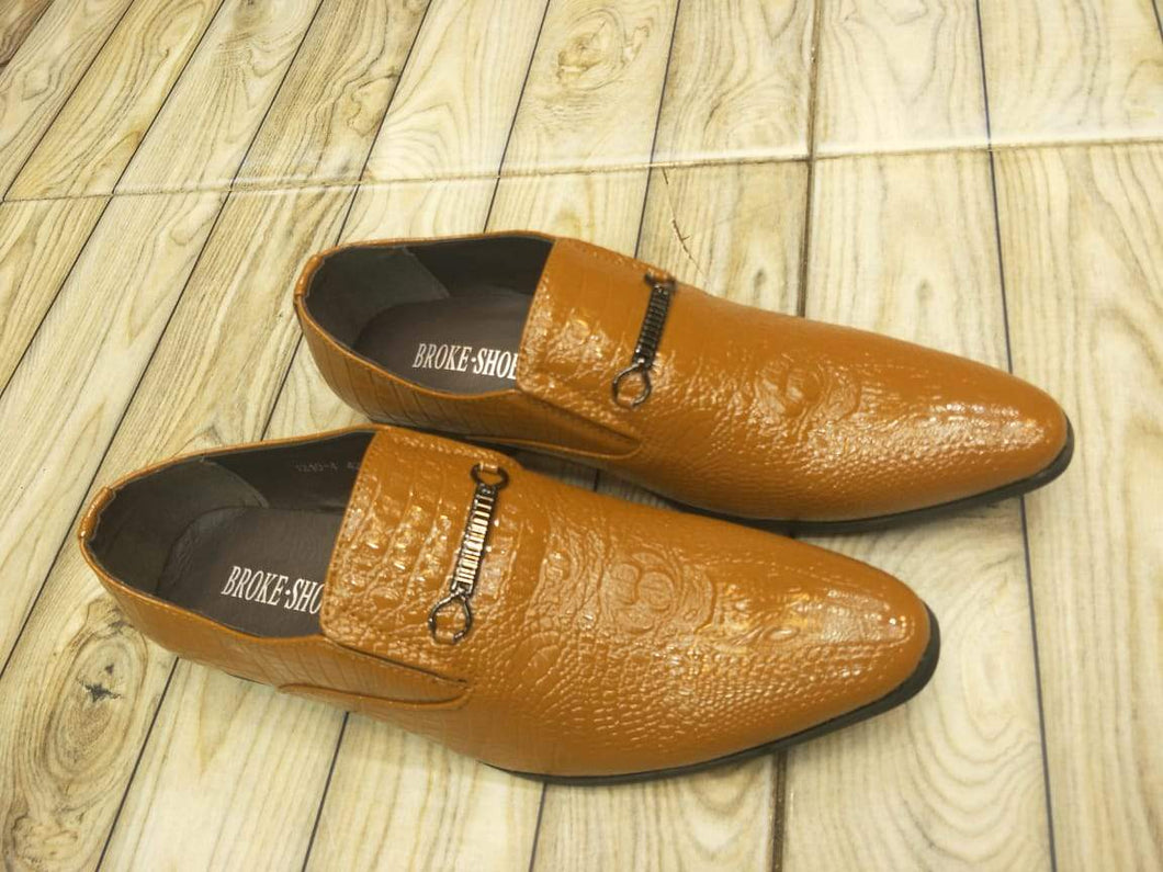 BROKE's Cap-Toe Slip-on Textured Formal Shoes for Men Bahria Stores by AnzorStore in Formal Shoes