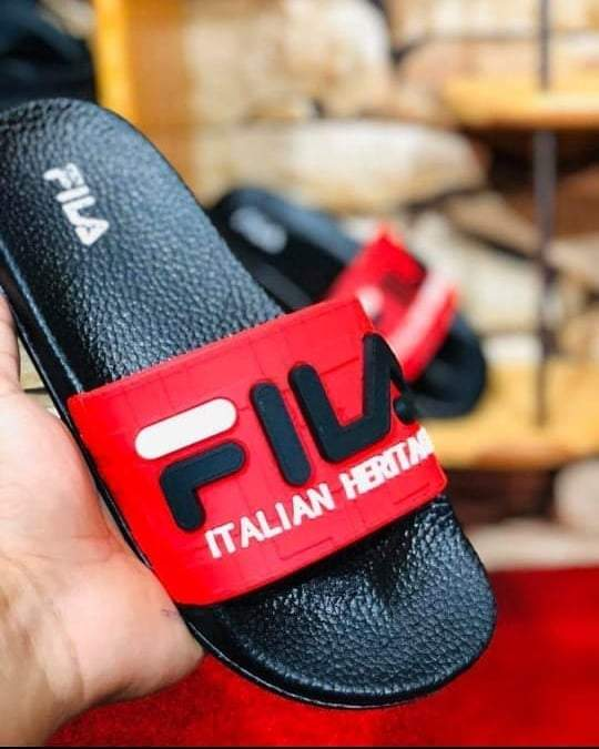 FILA Fixed Red Strap Slides (Embossed Brand Logo) for Men Bahria Stores by AnzorStore in Slides
