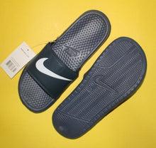 Load image into Gallery viewer, Nike Binassi JDI Style Black Slides with Navy Blue Fixed Strap (Printed White Brand Logo) for Men Bahria Stores by AnzorStore in Slides