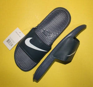 Nike Binassi JDI Style Black Slides with Navy Blue Fixed Strap (Printed White Brand Logo) for Men Bahria Stores by AnzorStore in Slides