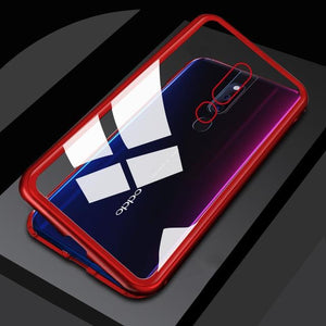 Magnetic Flip Case for OPPO F7 F9 F11 Realme 3 Pro Clear Glass Hard Back Cover Metal Frame Protection Case for OPPO A5 A7 A9 Bahria Stores by Bahria Stores in Cases & Screen Protectors